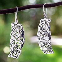 Sterling silver dangle earrings, 'Hummingbird Mystique' - Sterling Silver Bird Earrings
