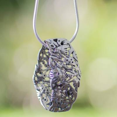 Sterling silver pendant necklace, 'Hummingbird Mystique' - Sterling silver pendant necklace