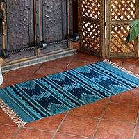 Zapotec wool rug, 'Midnight Blue' (2.5x5) - Blue Geometric Zapotec Wool Area Rug (2.5x5)
