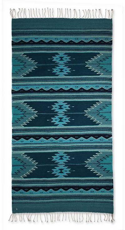 Zapotec wool rug, 'Midnight Blue' (2.5x5) - Blue Geometric Zapotec Wool Area Rug (2.5x5)