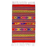Zapotec wool rug, 'Fiesta in Mitla' (2x3.5)