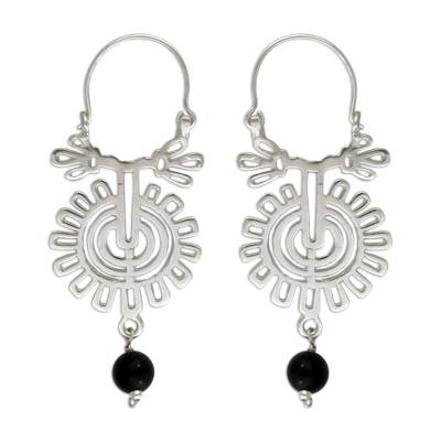 Hand Made Mexican Silver and Onyx Floral Earrings