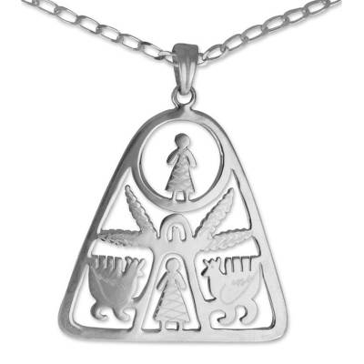Sterling silver pendant necklace, 'Life Amid the Maguey' - Sterling silver pendant necklace