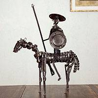 Auto parts sculpture, 'Rustic Heroic Quixote' - Rustic Don Quixote Mexico Recycled Metal Auto Parts Art