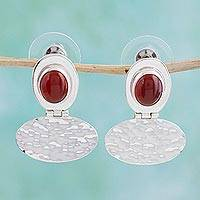 Carnelian drop earrings, 'Crimson Heart' - Carnelian drop earrings