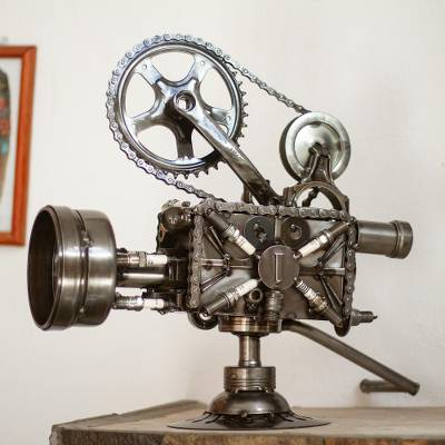 Auto parts sculpture, 'Rustic Film Projector' - Collectible Recycled Metal Movie Theater Sculpture