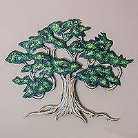 Steel wall art, 'Ancient Shade Tree' (large) - Unique Hand Painted Mexican Steel Wall Art (Large)