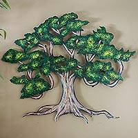 Steel wall art, 'Ancient Shade Tree' (medium) - Hand Painted Steel Tree from Mexico