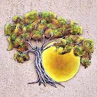 Steel wall art, 'Sunset Oak' (medium) - Collectible Hand Painted Tree Steel Wall Art (Medium)