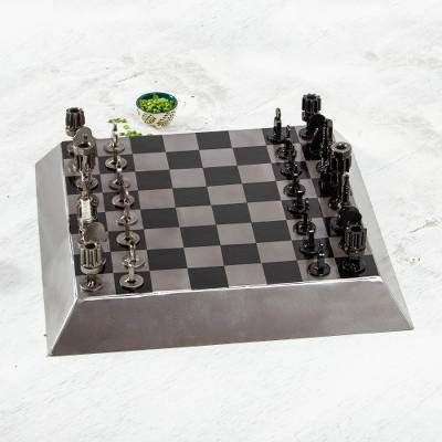 Auto part chess set, 'Rustic Pyramid' - Mexican Artisan Crafted Recycled Metal Chess Set Game
