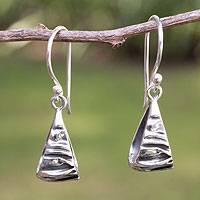 Silver dangle earrings, 'Textures'