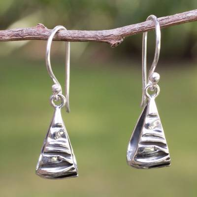 Silver dangle earrings, 'Textures' - Modern Fine Silver Dangle Earrings