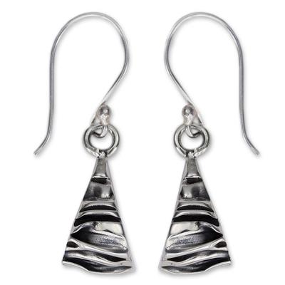 Silver dangle earrings, 'Textures' - Modern Fine Silver Dangle Earrings