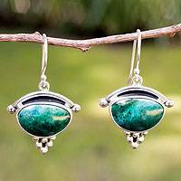 Chrysocolla dangle earrings, 'Taxco Mystique' - Taxco Silver and Chrysocolla Drop Earrings from Mexico
