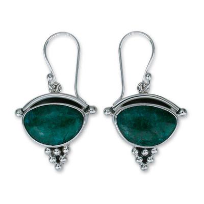 Chrysocolla dangle earrings, 'Taxco Mystique' - Chrysocolla Dangle Earrings 950 Silver Handmade in Mexico