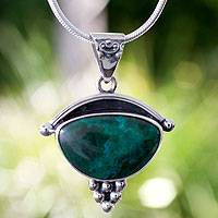 Chrysocolla pendant necklace, 'Taxco Mystique' - Handmade Mexico Chrysocolla and Silver Pendant Necklace