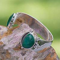 Chrysocolla cuff bracelet, 'Taxco Mystique' - Unique Taxco Fine Silver Chrysocolla Cuff Bracelet