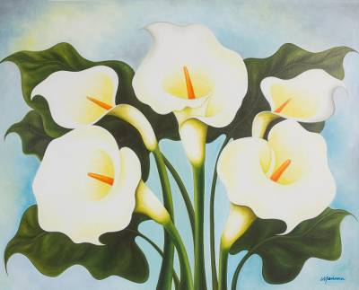 'Calla Lilies' - Unique Mexican Floral Green and Yellow Realist Painting