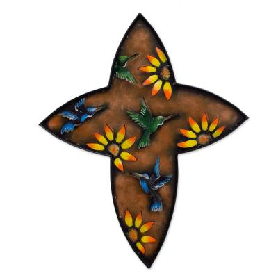 Iron wall sculpture, 'Resurrection' - Women's Christianity Steel Bird Cross
