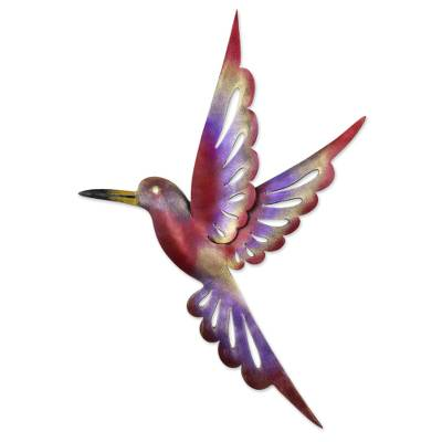 Iron wall sculpture, 'Rosy Hummingbird' (15 inches) - Steel Bird Wall Sculpture (15 Inches)