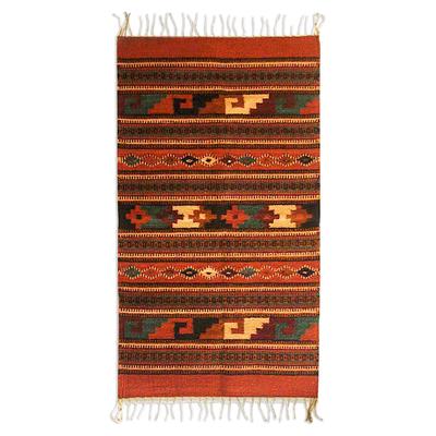 Zapotec wool rug, 'Crimson Sun' (2x3.5) - Geometric Wool Area Rug (2x3.5)
