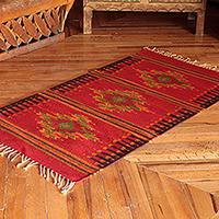 Zapotec wool rug, 'Oaxaca Colors' (2.5x5) - Fair Trade Zapotec Red Diamond Area Rug (2.5x5)