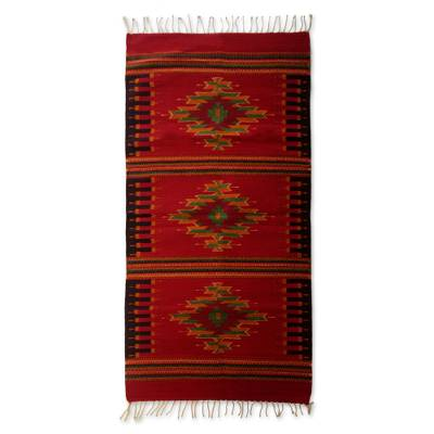 Zapotec wool rug, 'Oaxaca Colors' (2.5x5) - Fair Trade Zapotec Red Diamond Area Rug (2.5x5)