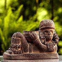 Ceramic sculpture, 'Aztec Chac Mool' - Ceramic sculpture