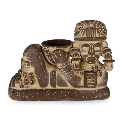 Archaeological Handcrafted Brown Ceramic Sculpture