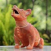 Ceramic figurine, 'Comala Dog' - Fair Trade Ceramic Sculpture from Mexico