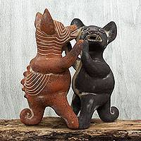 Ceramic figurine, 'Dancing Colima Dogs' - Handcrafted Pre Hispanic Replica Dog Statue