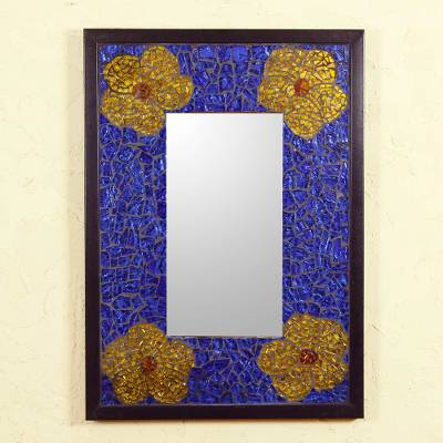 Stained glass mirror, 'Sapphire Sierra' - Unique Mosaic Glass Wall Mirror in Blue and Gold