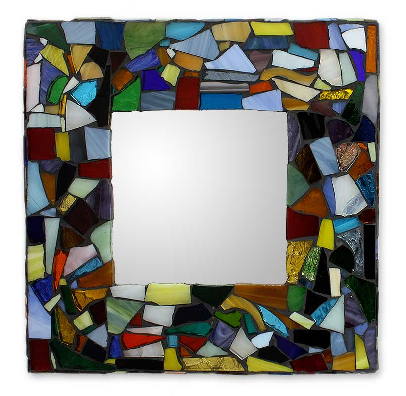 Stained glass mirror - Symphony of Color | NOVICA