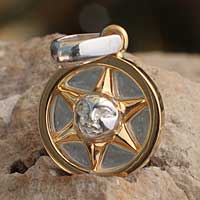 Gold Accent pendant, 'Luminous Sun' - Unique Gold Accent Silver Astral Theme Pendant