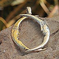 Gold and sterling silver pendant, 'Lunar Lovers' - Artisan Crafted Crescent Moon Gold Accent Pendant