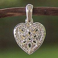 Sterling silver pendant, 'Room in My Heart' - Sterling silver pendant