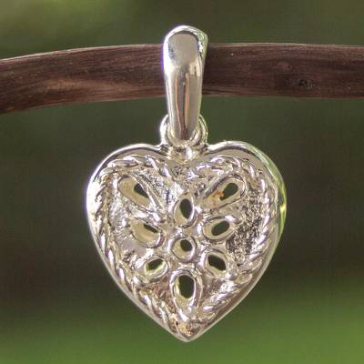 Sterling silver pendant, 'Room in My Heart' - Sterling Silver Heart Pendant