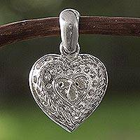 Sterling silver pendant, 'Secret Medieval Heart' - Sterling silver pendant