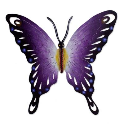Steel wall art, 'Soul of Wisdom' - Hand Made Purple Butterfly Steel Wall Sculpture Mexico
