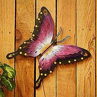 Steel wall art, 'Soul of Femininity' - Handmade Pink Butterfly Steel Wall Sculpture Mexico