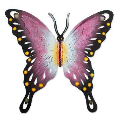 Steel wall art, 'Butterfly Soul' - Handmade Pink Butterfly Steel Wall Sculpture Mexico