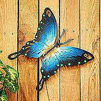 Steel wall art, 'Butterfly Harmony' - Unique Blue Butterfly Steel Wall Sculpture Mexico