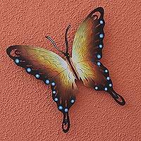 Steel wall art, 'Soul of Happiness' - Hand Made Orange Butterfly Steel Wall Sculpture Mexico