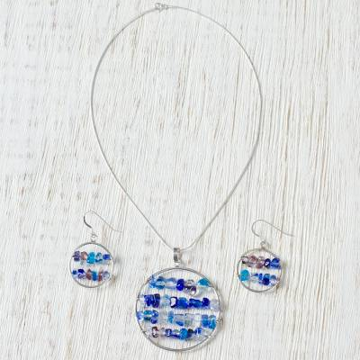 Dichroic art glass jewelry set, 'Count on Love' - Dichroic art glass jewelry set