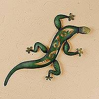 Iron wall sculpture, 'Mexican Gecko' - Lizard Wall Sculpture Metal Art Handmade in Mexico