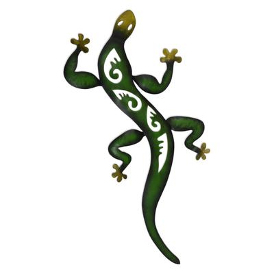 Iron wall sculpture, 'Mexican Gecko' - Lizard Wall Sculpture Metal Art Handmade in Mexico