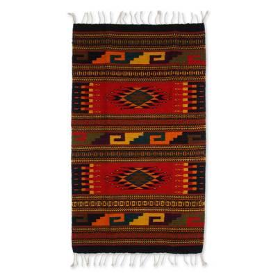 Hand Crafted Mexican Geometric Wool Area Rug (2x3.5)