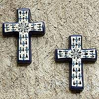 Ceramic crosses, 'Hope' (pair) - Fair Trade Christianity Ceramic Blue Cross (Pair)