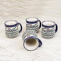 Ceramic mugs, 'Sierra Wonders' (set of 4) - Hand Made Mexican Floral Ceramic Mugs Dinnerware (Set of 4)