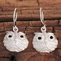 Sterling silver dangle earrings, 'Lucky Owl' - Sterling silver dangle earrings